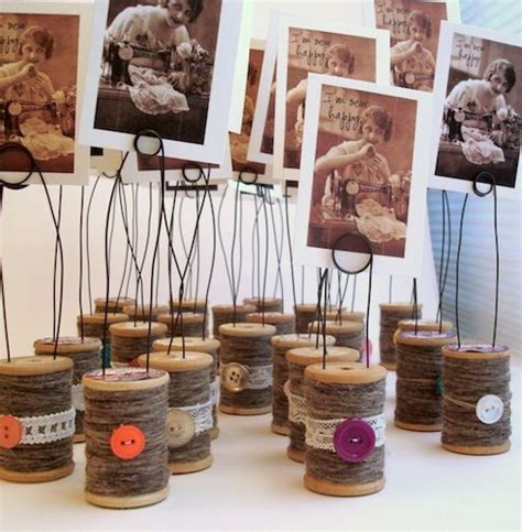 spool photo holders diy sewing room inspiration wooden