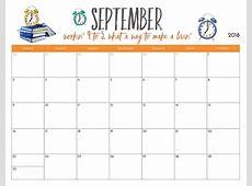 Download Free September 2018 Landscape & Portrait Calendar