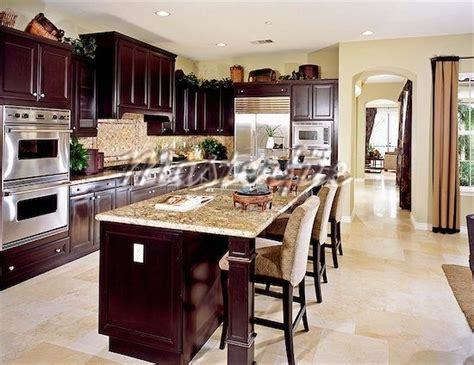wood kitchen with light tile floor home