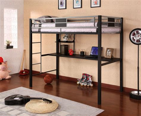 black and silver metal workstation loft bed by