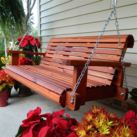 Porch Swing Bench by Southern Swings Rollback Cedar Porch Swing With Chains