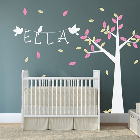 sticker mural chambre nursery tree with name and birds wall stickers by wallboss