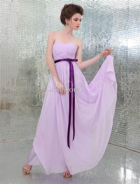 New Arrival Strapless Purple Sash Lilac Lavender Long ...