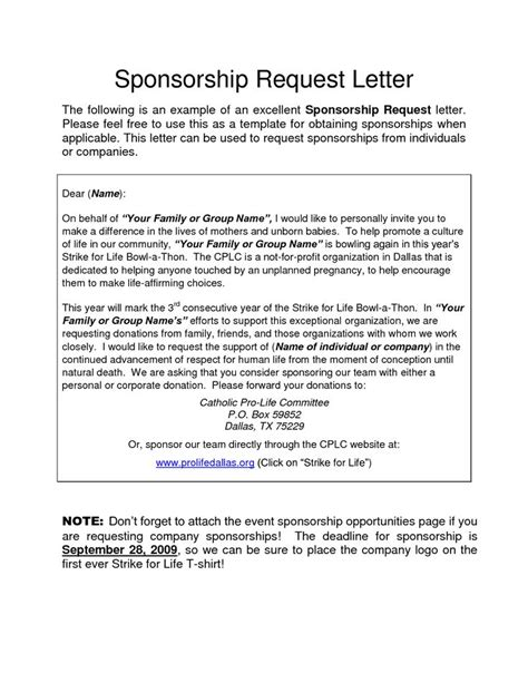 corporate sponsorship request letter charity donation
