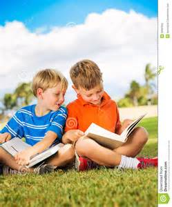 Children Reading Books Outside