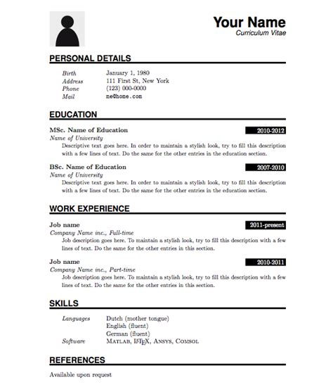 Cv Simple by Curriculum Vitae Template Search Resumes