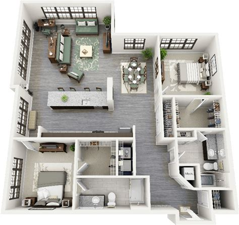 The Urban Balcony by 50 Two Quot 2 Quot Bedroom Apartment House Plans Architecture
