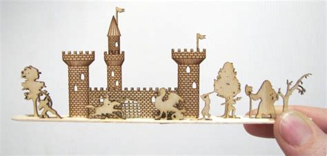 Miniature Laser Cut Medieval Castle Scene By
