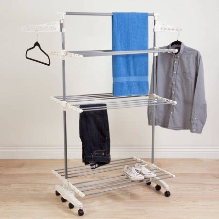 laundry rack walmart everyday home rolling stainless steel drying rack 8