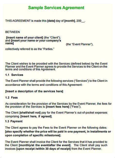 service agreement contract template service contract template and important terms to write
