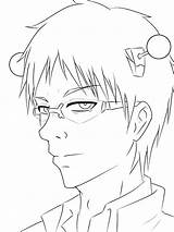 Coloring Saiki Disastrous Pages Kusuo Anime Sketch Request Popular sketch template