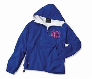 monogrammed pullover rain jacket personalized sorority greek With windbreaker greek letters