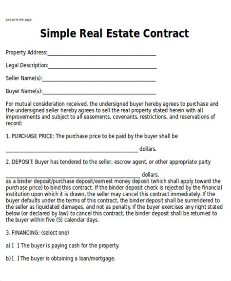 simple real estate purchase agreement template 6 sle home sales contracts sle templates