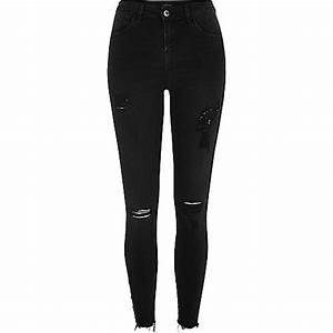 Black Ripped Skinny Jeans For Women - Oasis amor Fashion
