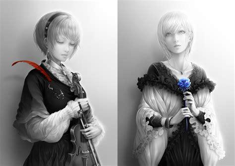 anime girl semi realistic violin