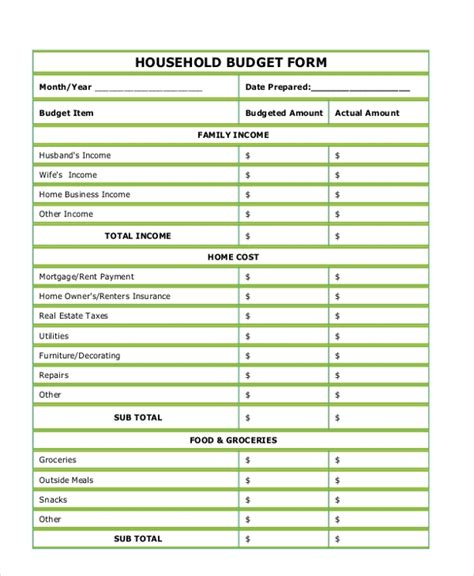 sample budget forms   ms word excel