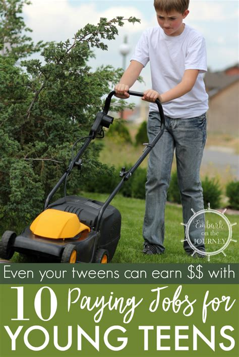 jobs paying teenagers money teens young tweens earn summer responsibility teen activities ways earning embarkonthejourney screen chores start parenting