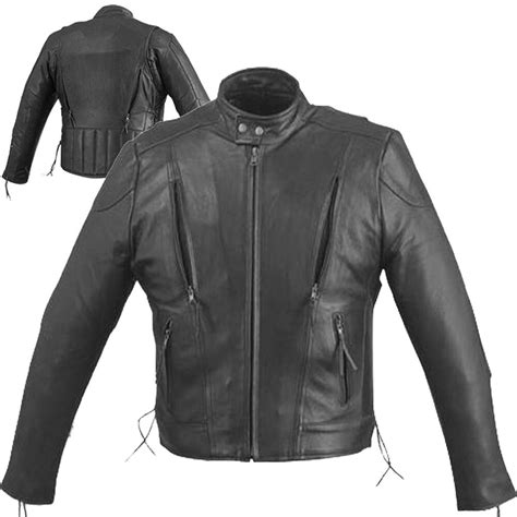 mens solid cowhide leather black classic jacket coat ebay