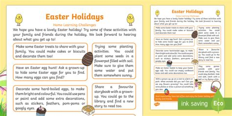 eyfs easter holidays home learning challenges teacher