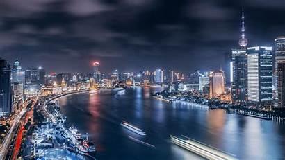 Shanghai China 4k Ultra Night Bund Pudong