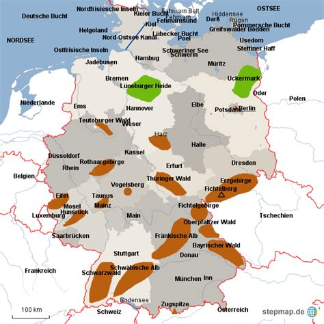 deutschland topografie von homer landkarte fuer