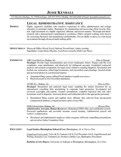 Resume Paralegal by Exle Paralegal Resume Free Sle