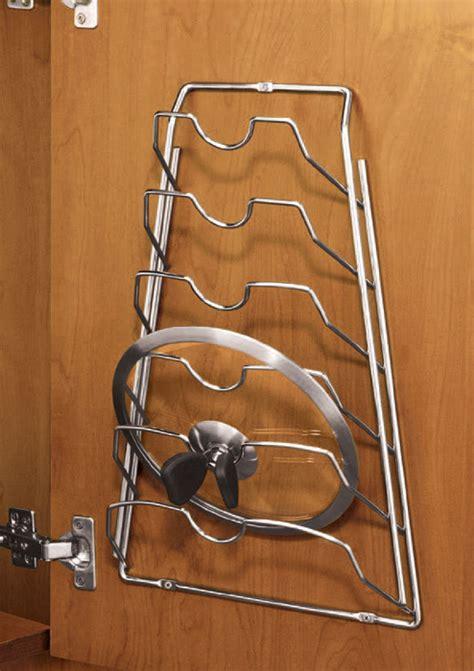 Pot And Lid Rack by Cabinet Door Lid Rack Chrome In Pot Lid Racks