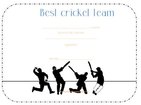 cricket team award certificate template award