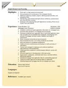 loan processor sle resumes document sle loan