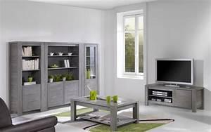 Meuble Avec Vitrine : salon avec meuble tv vitrine et table basse en pin massif ~ Teatrodelosmanantiales.com Idées de Décoration