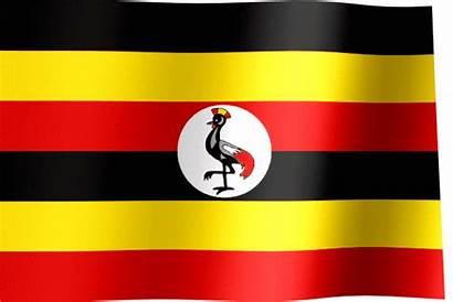 Flag Uganda Waving Flags Yellow Animated Stripes