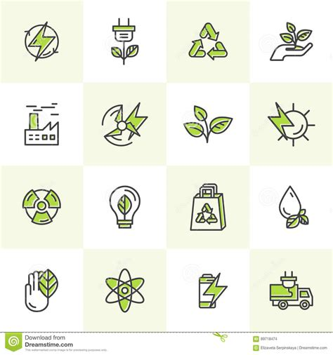 environment renewable energy sustainable technology recycling ecology solutions icons for