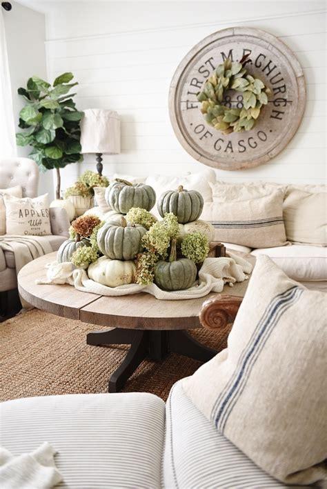 neutral fall decor heirloom pumpkin coffee table liz