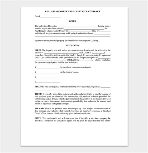 real estate offer letter template  samples examples