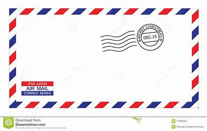 Envelope Airmail Christmas Clipart Stamped Vector Clip