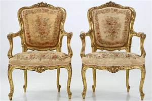 Pair Of French Louis XV Style Antique Fauteuil Arm Chairs