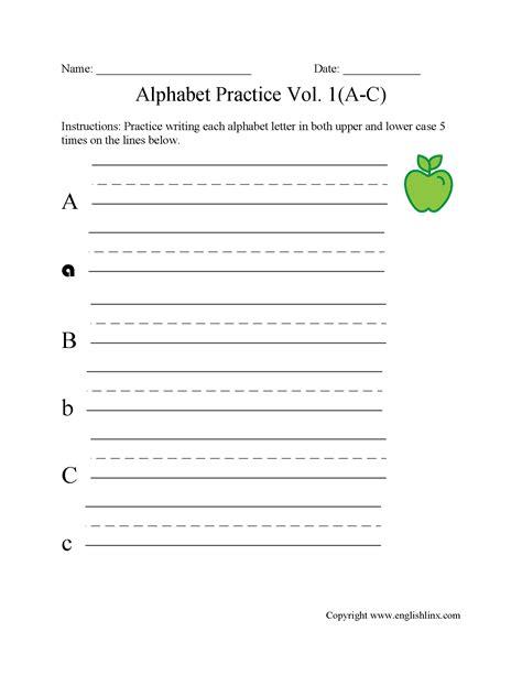 Alphabet Worksheets  Writing The Alphabet Worksheets