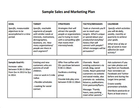 Sales And Marketing Plans Templates by Free Sales Plan Templates Free Printables Word Excel
