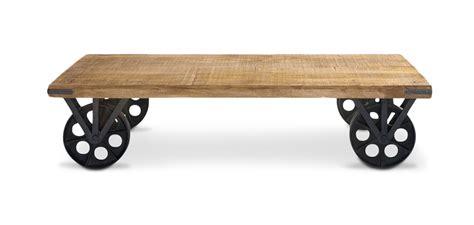 rangement cuisine pas cher table basse vintage industriel à roulettes acier et bois