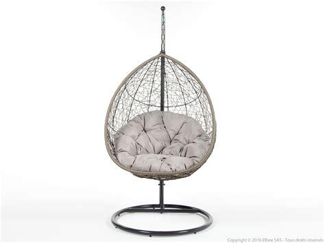 chambre taupe fauteuil suspendu de jardin en acier et résine tressée ovalang