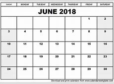 June 2018 Calendar Template monthly calendar 2017
