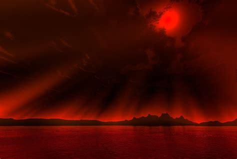 Psp Gif Wallpaper Sky Beach Crimson Dark Clouds Sun Red