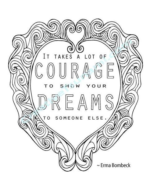 adult coloring erma bombeck quote courage dreams