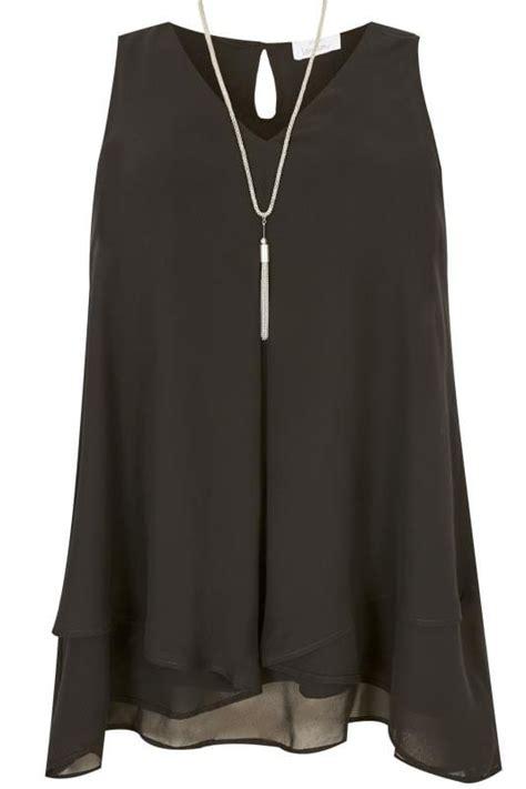 london black layered chiffon top  size