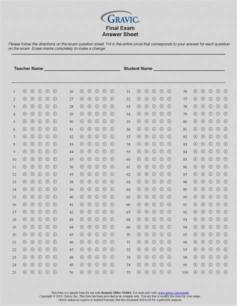 answer sheet template blank answer sheet template 120 question remark software 2018 blank template