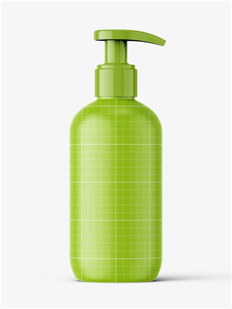 Layered psd easy smart object insertion license: Glossy bottle with pump mockup / 250 ml - Smarty Mockups