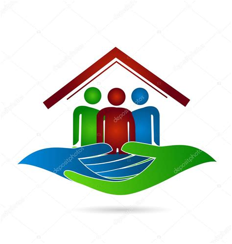 house family protection hands logo stock vector