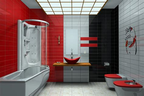 Double Red White Toilet And Gray White Tub Plus Glass Door