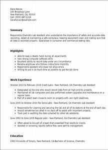 professional chemistry lab assistant templates to showcase With lab assistant resume