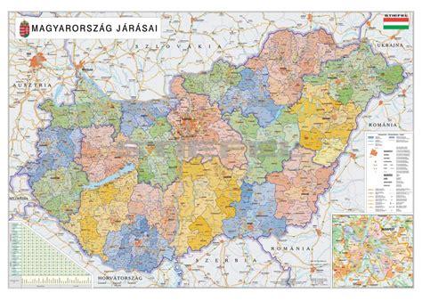Mayer lászló és molnár andrás, szlovén fordítás: Magyarország közigazgatási térkép a járásokkal fémléces vagy keretezett változat (eltérő ...